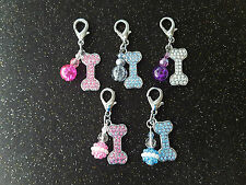 Handcrafted Pet Dog Diamante Bone Collar Charm & Beads Puppy Bling Tag Gift