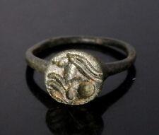 Roman Bronze Ring Depicting An Antelope (L158)