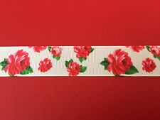RED ROSES on WHITE Grosgrain RIBBON 1Mtr X 22mm For Craft Hair Gifts Cakes