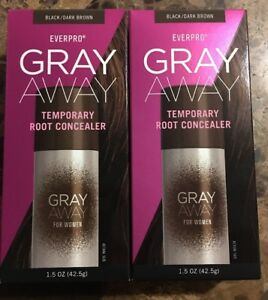 2x  Everpro Gray Away for Women Temporary Root Concealer, Black/Dark Brown
