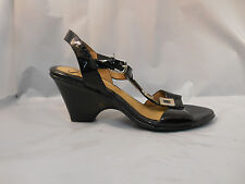 Sofft Black Patent Leather Wedge Sandals w/ Ankle Strap Gold Hardware Sz 8.5 M