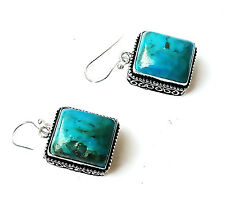 """90 CT. NATURAL TURQUOISE Vintage Style Silver Plated Earring=1.50""""HANDMADE"""