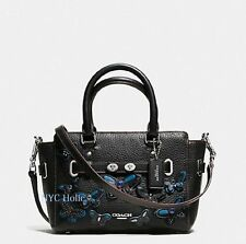 New Coach F59810 Mini Blake Carryall Black Pebble Leather Butterfly Applique NWT