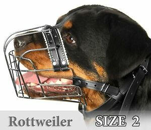 Rottweiler Muzzles Size #2 Metal Wire Basket Adjustable Leather Straps for Dog