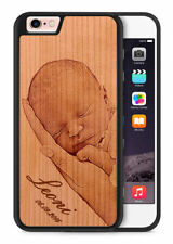 TPU Holz Handy Hülle Cover Case Etui Wunschmotiv Foto Logo Weihnachtsgeschenk