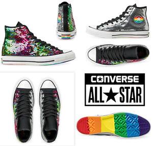 Converse 70s Hi Pride 167755C Silver Rainbow Sequin Shoe Sz MEN 9.5 / WO'S 11.5