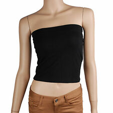 Women Stretch Plain Strapless Half Tube Top Padded Bra (TO_017)_Black