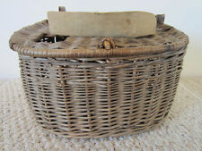 Vintage Fresh Water Basket Weave Large Fishing Creel With Leather & Canvas Strap