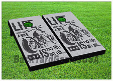 Cornhole Boards BEANBAG TOSS GAME Bike Life Black White w Bags Set