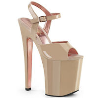 Pleaser XTREME-809TT Women Beige Rose Gold Chrome Extreme Heel Platform Sandals