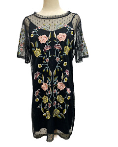 New Look Womens Sz 12 UK/Au Black Embroidered Floral Mesh Overly Dress