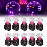 10 x Purple 74 T5 LED Car Instrument Panel Light Dash Lamp Bulbs+Twist Sockets