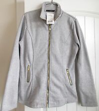 ACEVOG womens juniors GRAY Sweats fabric ZIP FRONT JACKET COAT SLIM FIT  L 6/8
