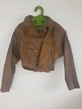 Vintage 80s tan leather  patchwork batwing style tapered biker jacket  12 14
