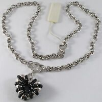SILVER 925 NECKLACE, ROLO' WITH HEART PENDANT WORKED AND SPINEL BLACK