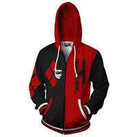 Suicide Squad Joker Harley Quinn Hoodie Sweatshirt Jacket Cosplay Costume Coat