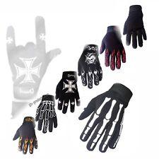 Mechanic Gloves Bones Skull Cross Flames Motorcycle Biker Neopren flexible soft