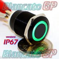 PULSANTE MONOSTABILE 19mm IMPERMEABILE IP67 STAGNO LED VERDE 12V DC CORPO NERO