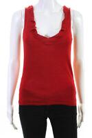 Prada Womens Sleeveless V Neck Solid Print Knit Tank Top Red Wool IT Size 40