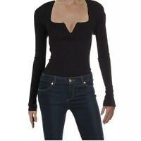 INTIMATELY FREE PEOPLE Womens Zoe Long Sleeve Thong Bodysuit Black NWT