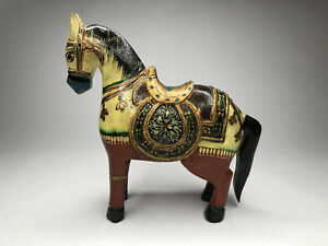 Antique Hand Carved Wooden Horse Temple Lingams Figurine India