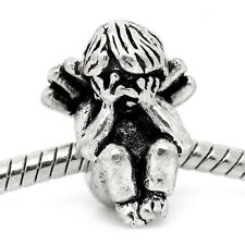 Sad Angel Crying Sulking Cherub Spacer Bead for Silver European Charm Bracelets