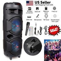 "Portable Rechargeable Bluetooth Dual 6.5"" Speaker Double Woofer w/ TF AUX FM LED"