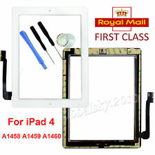 For iPad 4th Generation White Retina Display Touch Screen Digitizer +Home Button