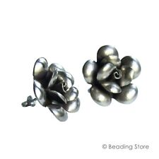 97-99% Pure Silver Karen Hill Tribe 24mm Hand Crafted Rose Earrings Ear Studs