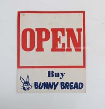 VINTAGE ORIGINAL BUNNY BREAD CARDBOARD OPEN CLOSED SIGN - NICE SHAPE VERY SCARCE