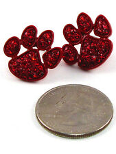 "Red Rhinestones 1"" Red Paw Earrings with"