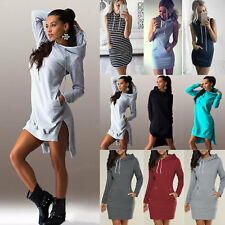 Women's Hooded Jumper Tops Mini Dress Slim Casual Long Blouse Sweatshirt Dresses