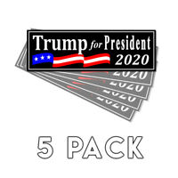 Donald Trump for President 2020 Black Bumper Sticker Decal 5 Pack