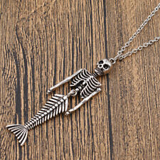 Gothic Horror Halloween Skeleton Mermaid Pendant Necklace Unisex Jewelry Gift