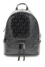 NWT MICHAEL Michael Kors Black Signature Glossy Rhea Zip Medium Backpack Bag New