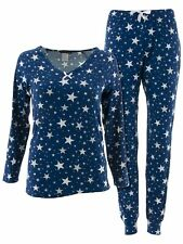 Not A Morning Person Juniors Stars Blue White Long Sleeved Jogger Pajamas