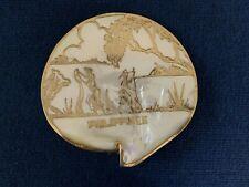 Vintage Philippines Polished Souvenir Abalone Sea Shell Gold Trim - Htf - Rare