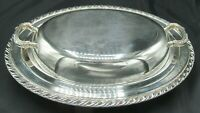 2-Piece Wm Rogers Oval Covered Serving Bowl Tray Platter Dish Silverplate VGC