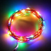 Neu 1M 10er LED Lichterkette Draht Micro Bunt, Batteriebetrieb Mode