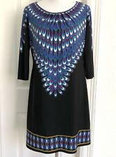 London Times 10/12 Stretch Shift Dress Black Blue Geometric Print 3/4 Sleeves
