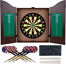Dartboard Game Cabinet Set Door Wall Mounted Chalk Scoreboard Home Garage Room
