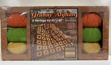 Nos Vtg Heritage Mills Granny Afghan 3 in 1 Crochet Kit 45x60 100% Acrylic Yarn