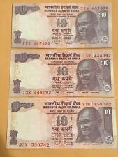India Ten Rupees Notes - 3 Different Suffix And Signatures Dated 2012