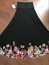 LARGE LuLaRoe MAXI DIPPED SKIRT black floral flowers yellow purple red NWT L