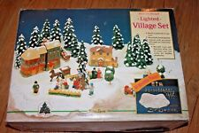Village Square 1992 Vintage Lighted Christmas Holiday Snow Covered 40 Pieces