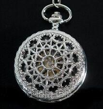 Steampunk Skeleton Silver Mechanical Heart Web Cobweb Filigree Pocket Fob Watch