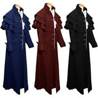 Vintage Men Steampunk Cosplay Medieval Gothic Trench Coat Jacket Frock Buttons