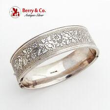 Vintage Wide Cuff Bracelet Sterling Silver Floral Engraved Designs 1930