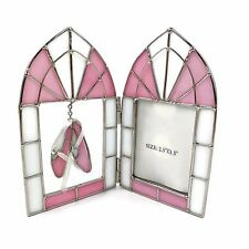 New ListingVtg Satined Glass Style Pink Hanging Ballet Slippers Photo Frame Display