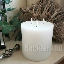 """Large Led White wax PILLAR CANDLE natural triple glow flames size 6""""by 6"""""""